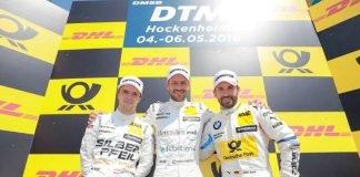 Podium: #22 Lucas Auer (Mercedes-AMG C 63 DTM), #2 Gary Paffett (Mercedes-AMG C 63 DTM), #16 Timo Glock (BMW M4 DTM) (Foto: ITR GmbH)