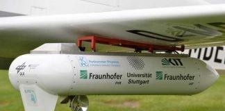 Sender am Flügel des Flugzeugs. Eine kleine Parabolantenne sorgt für die korrekte Ausrichtung auf die Bodenstation. (Foto: R. Sommer/ Fraunhofer FHR)