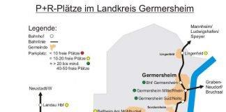 Karte Auslastung P+R-Plätze (Quelle: ZSPNV RLP Süd)