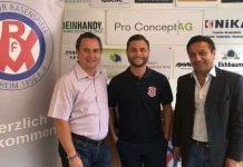 Der neue Cheftrainer Serkan Secerli (m.) zusammen mit Sportvorstand Boris Scheuermann (l.) und Team-Manager Jener Külbag (r.) (Foto: VfR Mannheim)