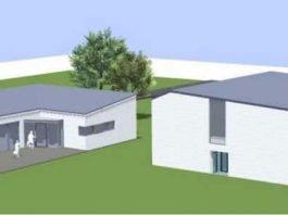Das Gebäude links ist der Neubau der Mensa. Das Gebäude rechts ist die bestehende Turnhalle. (Plan: Rheinwalt Architekten)