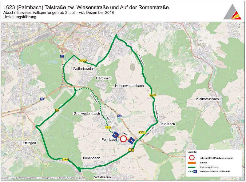 Umleitung aufgrund Vollsperrung der L 623 (Quelle: Stadt Karlsruhe)