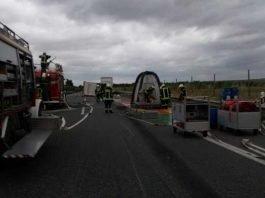 Unfallstelle A 63 Höhe Wörrstadt, umgestürzter LKW-AnhängerUnfallstelle A 63 Höhe Wörrstadt, umgestürzter LKW-Anhänger