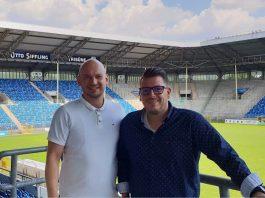 SVW-Geschäftsführer Markus Kompp und Marc Eckart, neuer Leiter des Sicherheits- und Stadionsmanagements. (Foto: SV Waldhof)