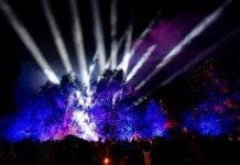 Illuminierte Bäume auf der Gartenschau (Foto: view)