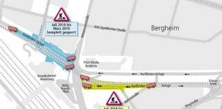 Baustellen in den Sommerferien im Großraum Heidelberg Hauptbahnhof. (Quelle: Kartographie Peh & Schefcik)
