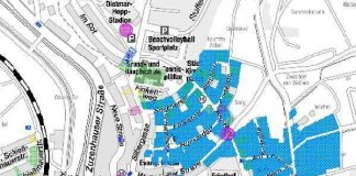 Blau eingefärbte Fläche stellt den FTTC-Ausbau Hoffenheim-Ost dar (Quelle: Stadt Sinsheim)