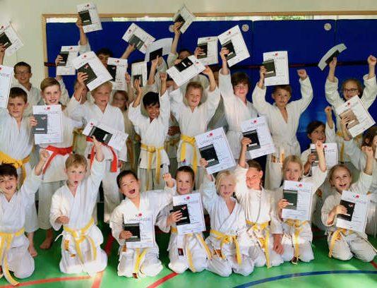 Alle 33 Karateka des Budoclub Rhein-Neckar bestehen mit Bravour (Foto: BCRN)