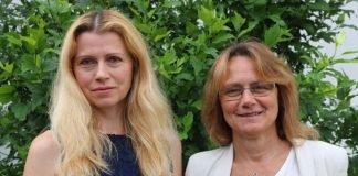 Seit einem Jahr in der Stabsstelle: die Bildungskoordinatorinnen Maria Lauxen-Ulbrich (rechts) und Viktoriya Ordikhovska. (Foto: Kreis Bergstraße)