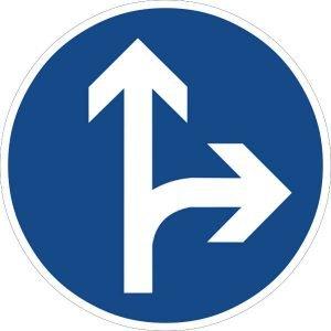 Zeichen 214-20 (vorgeschriebene Fahrtrichtung geradeaus oder rechts)