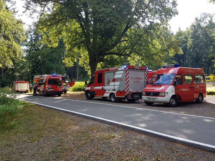 Feuerwehrfahrzeuge bei Schwarzsohl (Foto: Presseteam der Feuerwehr VG Lambrecht)