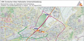 Umleitungsroute für den Individualverkehr (Quelle: Tiefbauamt Karlsruhe)