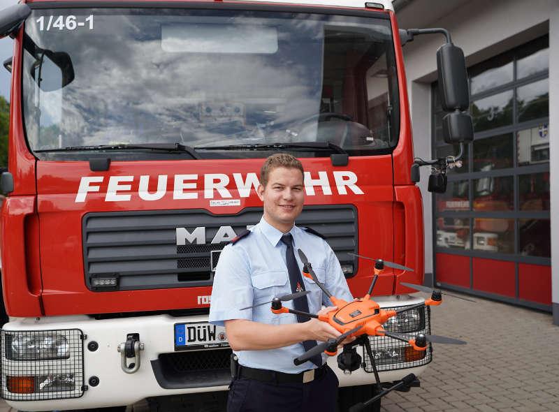 Die Drohne wird bei der Feuerwehr Deidesheim vorgehalten, die andere Drohne in Grünstadt (Foto: Holger Knecht)