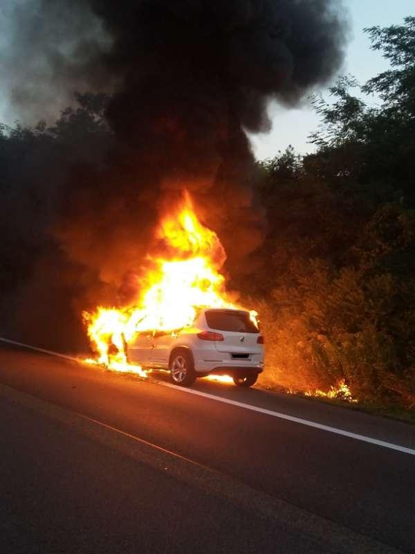 Der Pkw brannte nahezu komplett aus. (Foto: Polizei RLP)