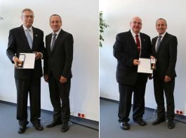 Bernhard Welsch und Hermann Josef Esser mit Minister Konrad Wolf (Foto: MWWK)