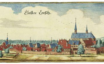 Matthias Merian d. Ä., Kloster Lorsch, Zustand vor 1621, kolorierter Kupferstich (Quelle: VSG)