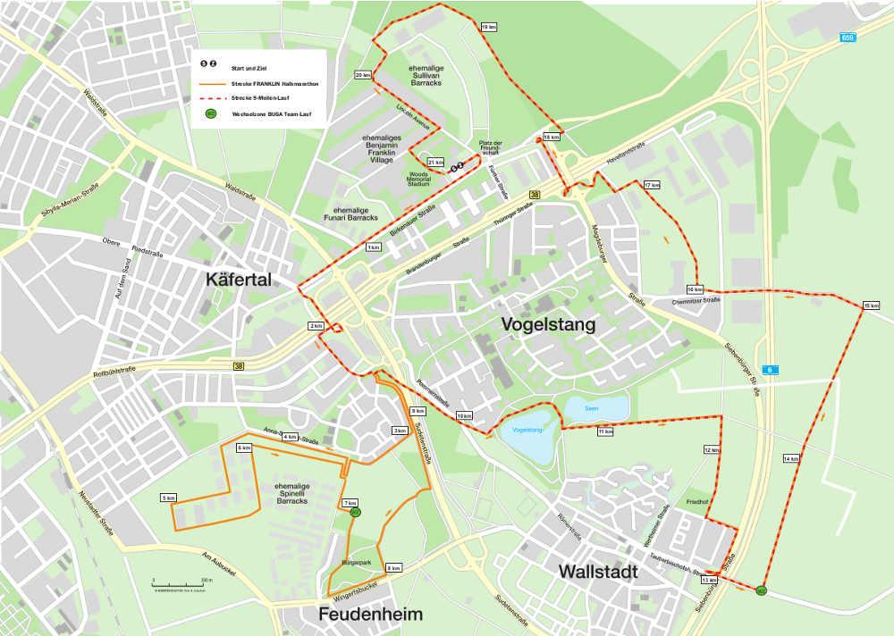 FRANKLIN Meilenlauf 2018 - Streckenplan