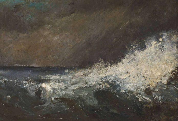 Gustave Courbet, Une Vague (eine Welle), 1866, Öl auf Leinwand, Privatleihgabe (Foto: Wolfgang Fuhrmannek, HLMD)
