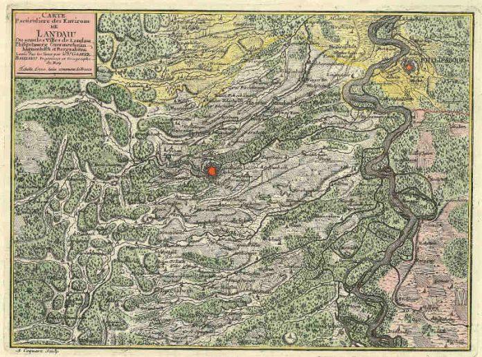 """Unter dem Titel """"Deß berühmten und herrlichen Flusses eigentliche und wahhafftige Beschreibung"""" werden Rheinlaufkarten vom 16. bis zum frühen 20. Jahrhundert präsentiert. (Foto: Rheinlaufkarte Landau)"""