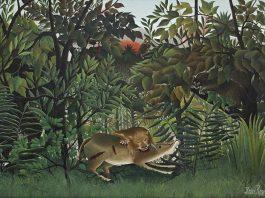Henri Rousseau, Le lion, ayant faim, se jette sur l'antilope, 1898 – 1905, Oil on Canvas, 200 x 301 cm, Fondation Beyeler, Riehen/Basel, Sammlung Beyeler (Foto: Robert Bayer, Basel)