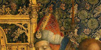 """Hl. Simeon mit Christuskind, Ausschnitt aus """"Die Darbringung im Tempel"""" Stefan Lochner, Köln, 1447 (Foto: HLMD, Foto: Wolfgang Fuhrmannek, HLMD)"""
