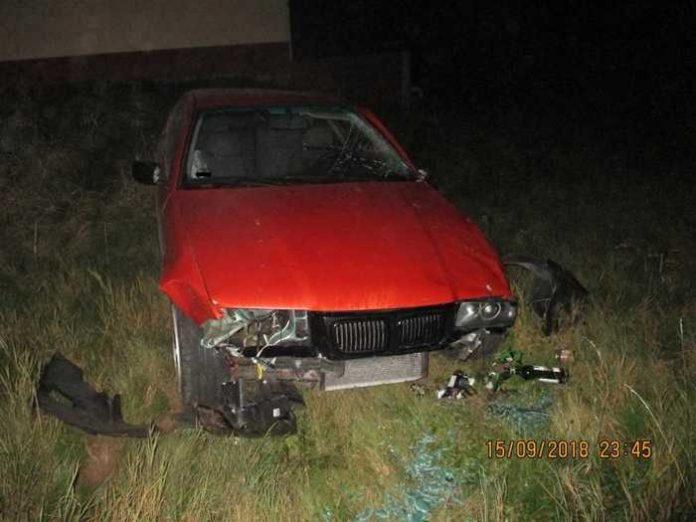 BMW an der Unfallstelle