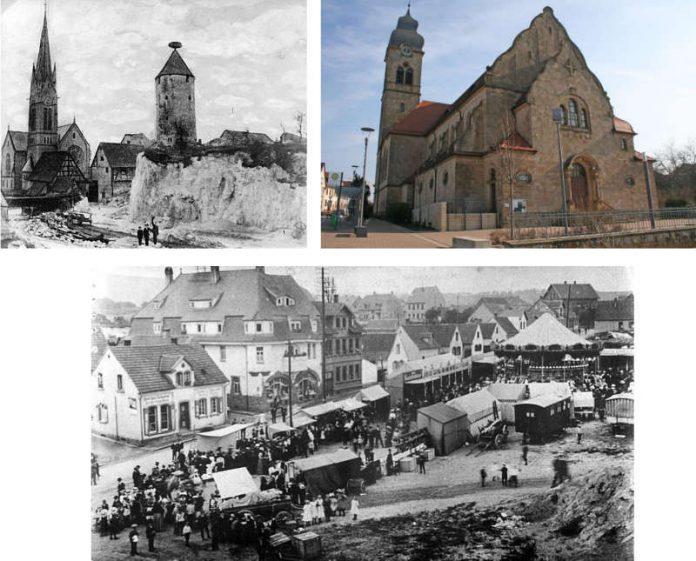 Storchenturm 1906 am alten Standort (o.l.), Katholische Kirche (o.r.), Alter Marktplatz 1920 (u.) (Fotos: Verbandsgemeinde Eisenberg)