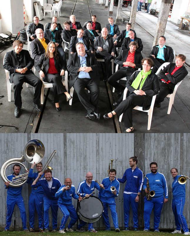 Die Blue note BIGBAND und UffgeBrassd! (Fotos: Bands)