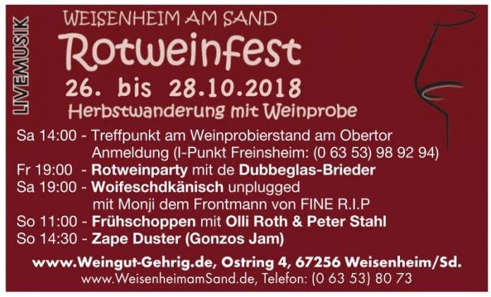 Rotweinfest 2018 - Programm (Quelle: Weingut & Gästehaus Gehrig)