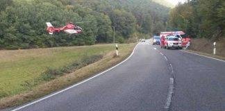 Unfallstelle mit Rettungshubschrauber