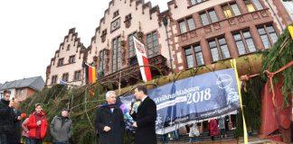 Aufstellung Weihnachtsbaum 2018: OB Peter Feldmann mit Schlüchterns Bürgermeister Matthias Möller vor dem Baum (Foto: Stadt Frankfurt/Rainer Rüffer)