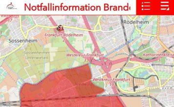 Das betroffene Gebiet (Quelle: Feuerwehr Frankfurt)