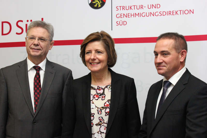 SGD Süd Präsident Prof. Dr. Hans-Jürgen Seimetz, Ministerpräsidentin Malu Dreyer, künftiger SGD Süd Präsident Prof. Dr. Hannes Kopf (Foto: SGD Süd)