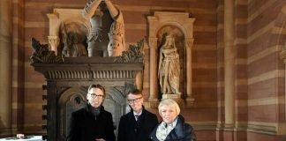 Dr. Lars Castellucci, Bundestagsabgeordnete Doris Barnett, Domkustos Peter Schappert. (Quelle: Domkapitel Speyer, Foto: Klaus Landry)