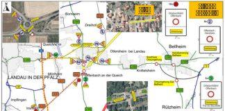 Umleitungsbeschilderung L 542 (Quelle: LBM Speyer)