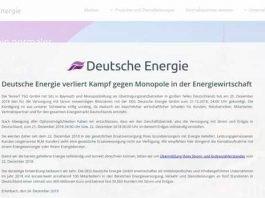 Hinweis an die Kunden der DEG auf der Webseite der DEG - Der Energielieferant hat Insolvenz angemeldet - Bildquelle: Screenshot DEG Webseite