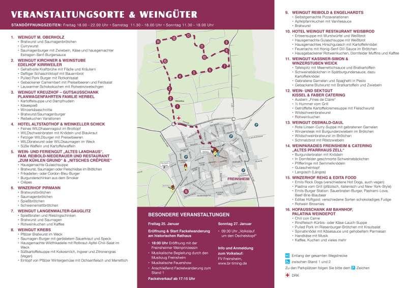 Veranstaltungsorte und Weingüter (Rotweinwanderung Freinsheim 2019)