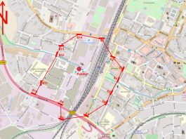 Der betroffene Bereich ist in der beigefügten Karte rot dargestellt. (Quelle: Stadt Bruchsal)
