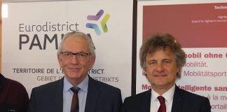 Rémi Bertrand, Präsident des Eurodistrikts PAMINA und Frank Mentrup, Oberbürgermeister der Stadt Karlsruhe (Foto: Hannes Blank)