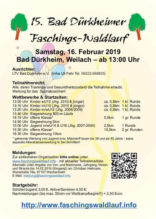 Faschingswaldlauf 2019 (Quelle: LTV Bad Dürkheim)