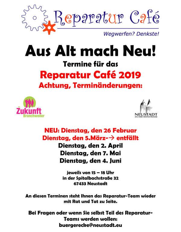 Termine Reparatur Café (Quelle: Stadtverwaltung Neustadt)