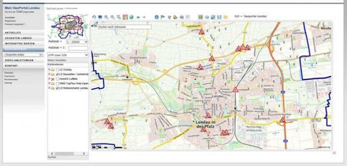 Seit Kurzem auf dem GeoPortal der Stadt Landau verfügbar: Eine interaktive Baustellenkarte, mit der sich Verkehrsteilnehmerinnen und Verkehrsteilnehmer über aktuelle Verkehrsbehinderungen sowie deren geplante Dauer informieren können. (Quelle: Stadt Landau in der Pfalz)