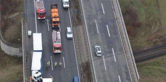 Der Verkehrsunfall aus Sicht des Polizeihubschraubers (Foto: Polizei RLP)