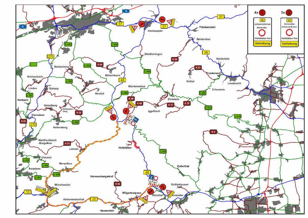 Der gesamte Verkehr aus Richtung B 10 von Annweiler kommend wird ab der Einmündung B 48 bei Rinnthal über die B 10 bis Münchweiler und über die L 496 über Leimen bis zur B 48 südlich von Johanniskreuz umgeleitet und umgekehrt (Quelle: LBM Speyer)