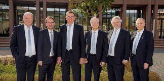Vorstand und Geschäftsführung des ADAC Pfalz e.V.: (v.l.) Friedhelm Kissel (Sportleiter), Tobias Klosen (Schatzmeister), Rudi Zeiter (Vorsitzender), Dr. Volker Kettenring (Verkehrs- und Technikreferent), Götz Stuckensen (2. Vorsitzender und Touristikreferent), Thomas Barth (Geschäftsführer) (Foto: ADAC Pfalz)