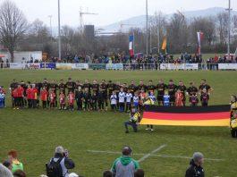 Die deutsche 15er Rugby-Nationalmannschaft vor dem EM-Spiel in Heidelberg (Foto: Hannes Blank)
