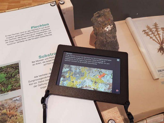 Variable Textgröße und Detailfotos auf den Tablets im Pfalzmuseum (Foto: Pfalzmuseum für Naturkunde)