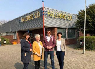 Foto (v.l.n.r.): Oberbürgermeisterin Jutta Steinruck, Doris Barnett (MdB), David Guthier (SPD-Stadtverbandsvorsitzender), Anke Simon (MdL)