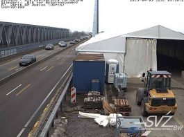 Baustelle auf der Rheinbrücke Maxau (Foto: Webcam)