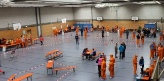 Notfallstation Überblick Kreissporthalle (Foto: Landratsamt Rhein-Neckar-Kreis)